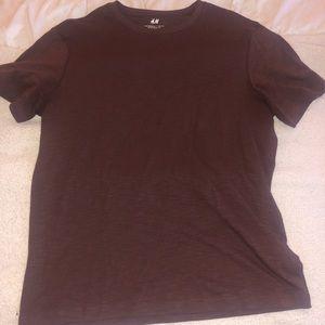 Maroon H&M Crew neck T Shirt Regular Fit